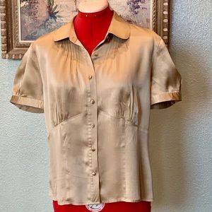 The Limited tailored gold silk blouse in size L